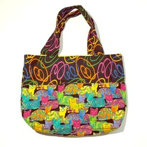 🌈🐱 Colorful Crazy Cat Lady Handmade Tote Bag